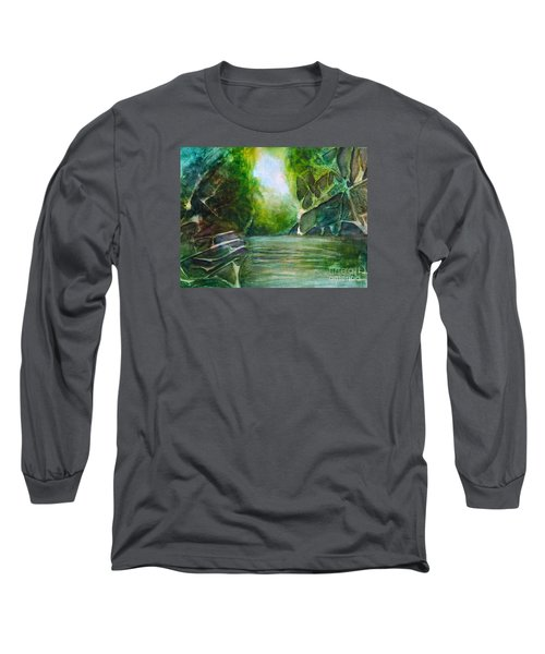 Long Sleeve T-Shirt featuring the painting Hidden Green by Allison Ashton