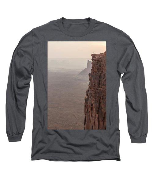 Hiker Standing At Sharp Cliff Edge Long Sleeve T-Shirt