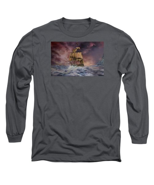 Long Sleeve T-Shirt featuring the painting H.m.s Victory by Jean Walker