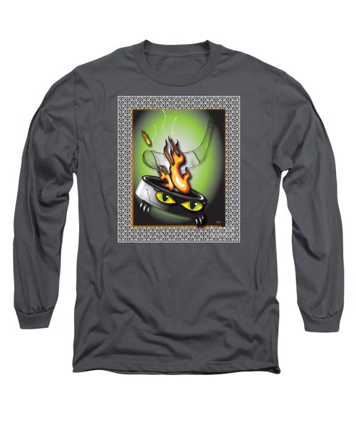 Hockey Puck In Flames Long Sleeve T-Shirt