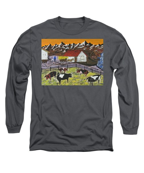 Long Sleeve T-Shirt featuring the painting Hog Heaven Farm by Jeffrey Koss