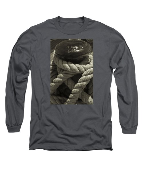 Hold On Black And White Sepia Long Sleeve T-Shirt