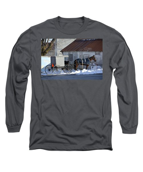 Horse And Buggy Parked Long Sleeve T-Shirt
