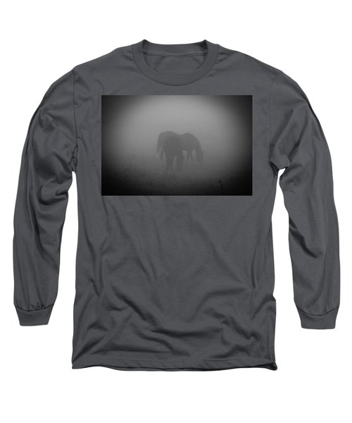 Long Sleeve T-Shirt featuring the photograph Horses In The Mist. by Cheryl Baxter