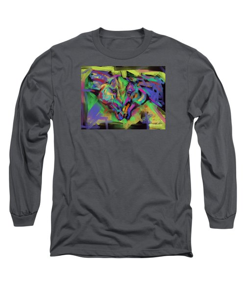 Long Sleeve T-Shirt featuring the painting Horses Together In Colour by Go Van Kampen