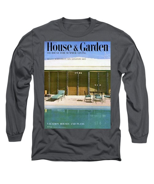 House & Garden Cover Of A Swimming Pool At Miami Long Sleeve T-Shirt