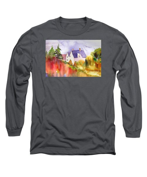 Long Sleeve T-Shirt featuring the painting House In The Country by Yolanda Koh
