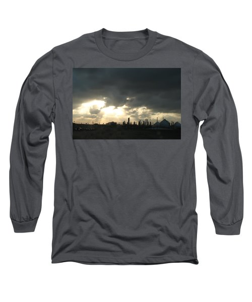 Long Sleeve T-Shirt featuring the photograph Houston Refinery At Dusk by Connie Fox