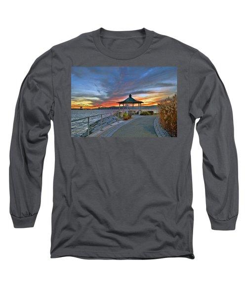 Hudson River Fiery Sky Long Sleeve T-Shirt by Jeffrey Friedkin
