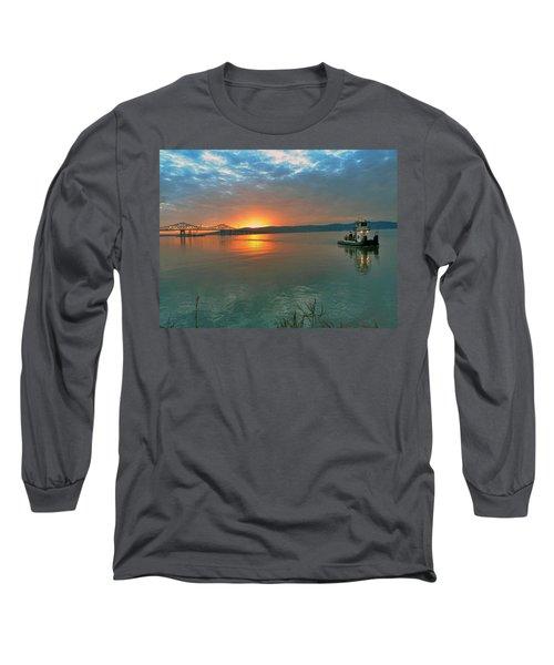 Hudson River Sunset Long Sleeve T-Shirt by Jeffrey Friedkin