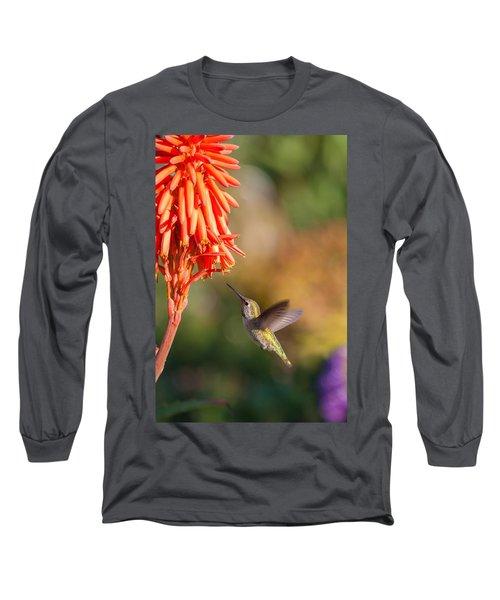 Hummingbird And Flower Long Sleeve T-Shirt
