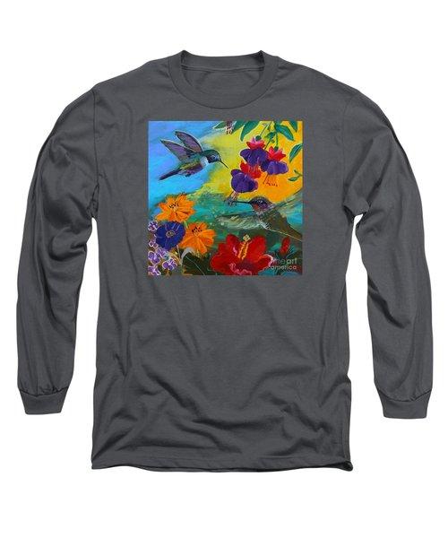 Hummingbirds Prayer Warriors Long Sleeve T-Shirt by Robin Maria Pedrero