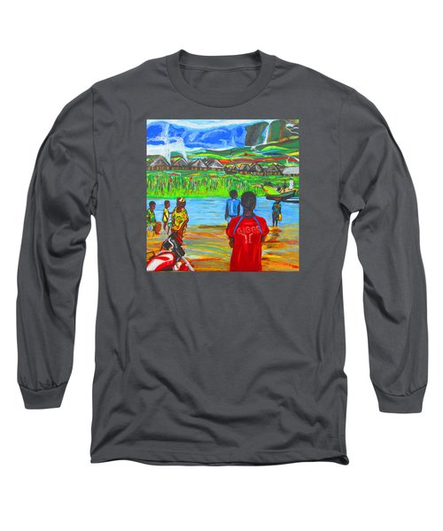 Long Sleeve T-Shirt featuring the painting Hurry Up There - Ryan Giggs Tribute by Mudiama Kammoh