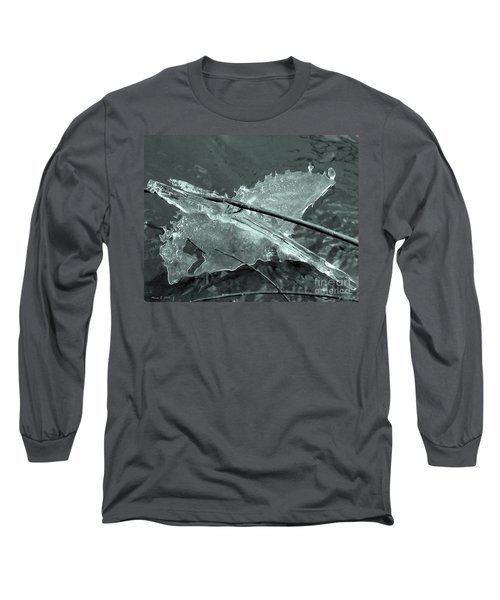 Long Sleeve T-Shirt featuring the photograph Ice-bird On The River by Nina Silver