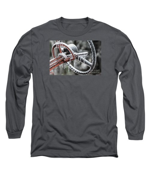 Long Sleeve T-Shirt featuring the photograph Icy Allis- Chalmers Tractor by Debbie Green