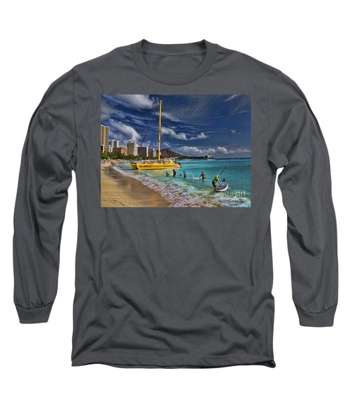 Idyllic Waikiki Beach Long Sleeve T-Shirt
