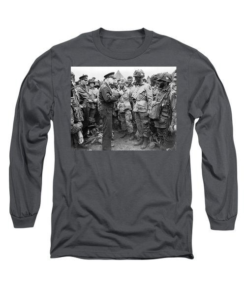Ike With D-day Paratroopers Long Sleeve T-Shirt