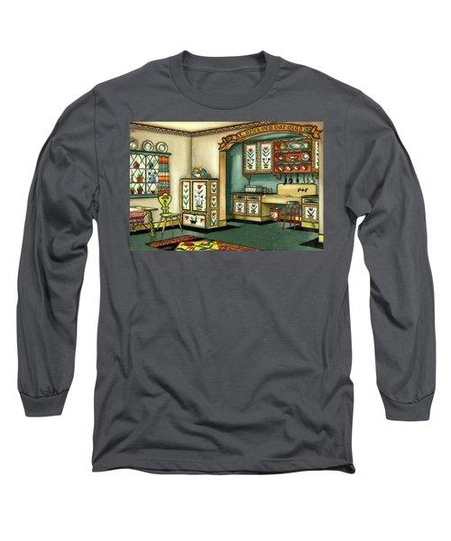 Illustration Of A Colorful Swedish Kitchen Long Sleeve T-Shirt