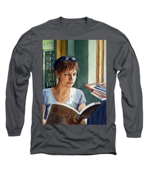 Long Sleeve T-Shirt featuring the painting In The Book Store by Irina Sztukowski