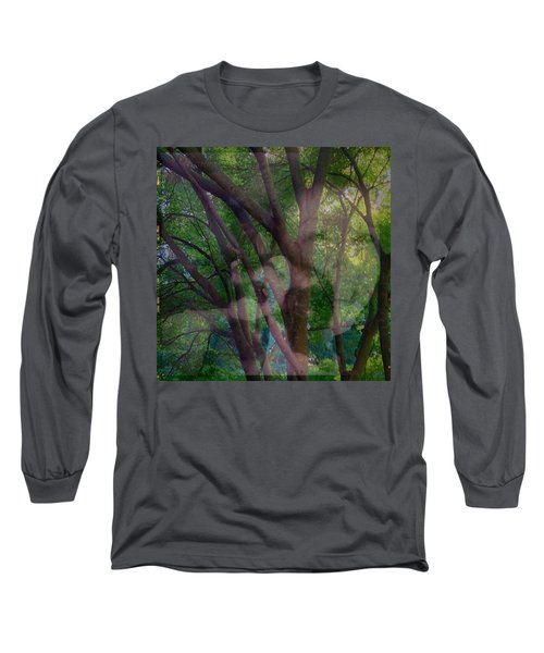 In The Forest Self-portrait With Ferret Long Sleeve T-Shirt