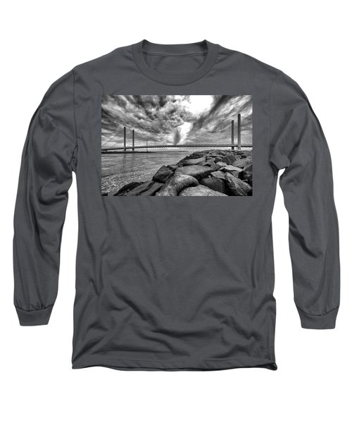 Indian River Bridge Clouds Black And White Long Sleeve T-Shirt