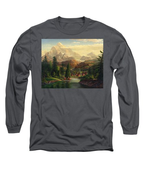 Indian Village Trapper Western Mountain Landscape Oil Painting - Native Americans Americana Stream Long Sleeve T-Shirt