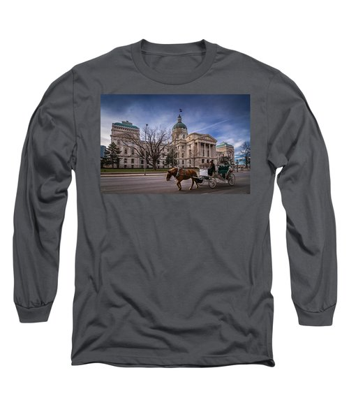 Indiana Capital Building - Front With Horse Passing Long Sleeve T-Shirt