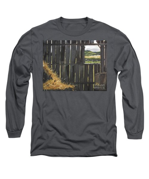 Long Sleeve T-Shirt featuring the painting Barn -inside Looking Out - Summer by Jan Dappen