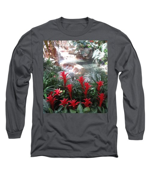 Long Sleeve T-Shirt featuring the photograph Interior Decorations Water Fall Flowers Lights Shades by Navin Joshi
