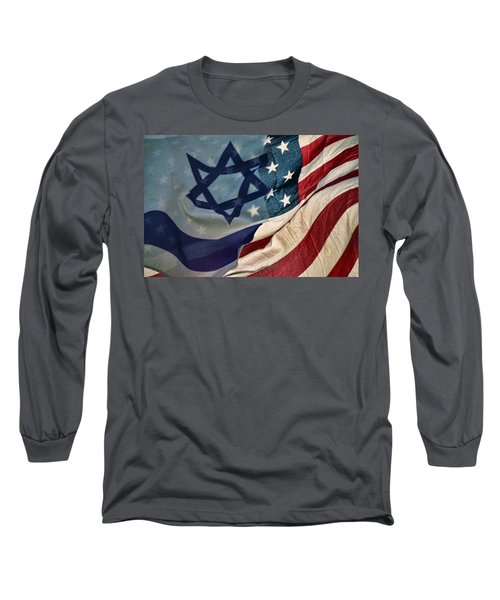 Israeli American Flags Long Sleeve T-Shirt by Ken Smith