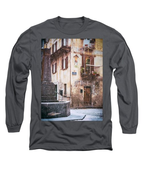 Long Sleeve T-Shirt featuring the photograph Italian Square In  Snow by Silvia Ganora