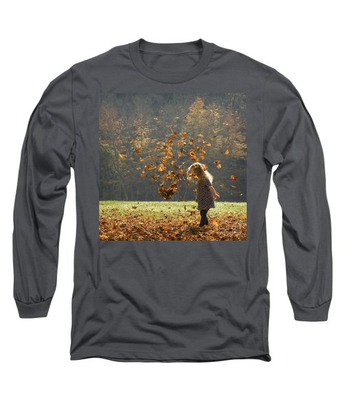 It's Raining Leaves Long Sleeve T-Shirt by Carol Lynn Coronios