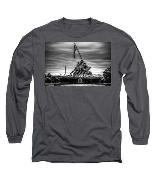 Iwo Jima Monument Black And White Long Sleeve T-Shirt