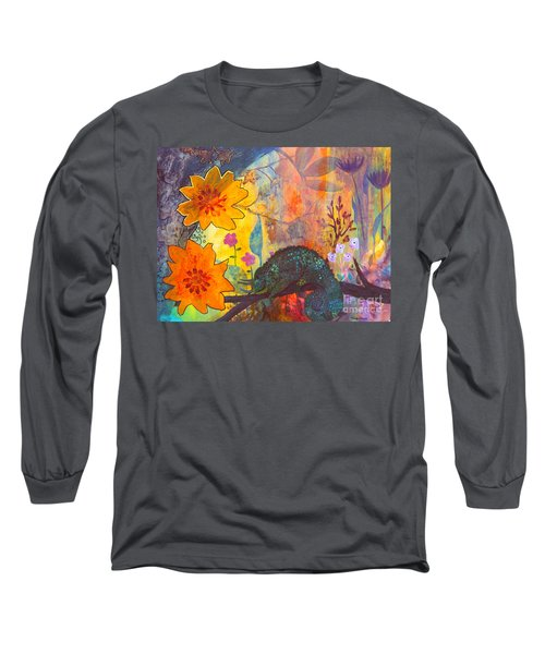 Long Sleeve T-Shirt featuring the painting Jackson's Chameleon by Robin Maria Pedrero