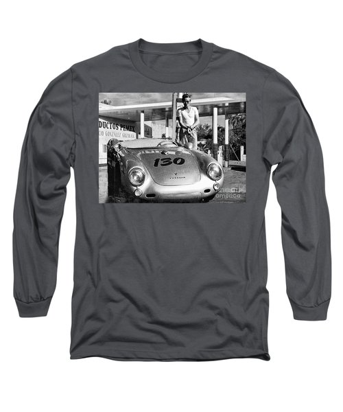 James Dean Filling His Spyder With Gas Black And White Long Sleeve T-Shirt by Doc Braham