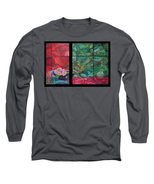 Long Sleeve T-Shirt featuring the painting Japanesse Flower Arrangment by Joshua Morton