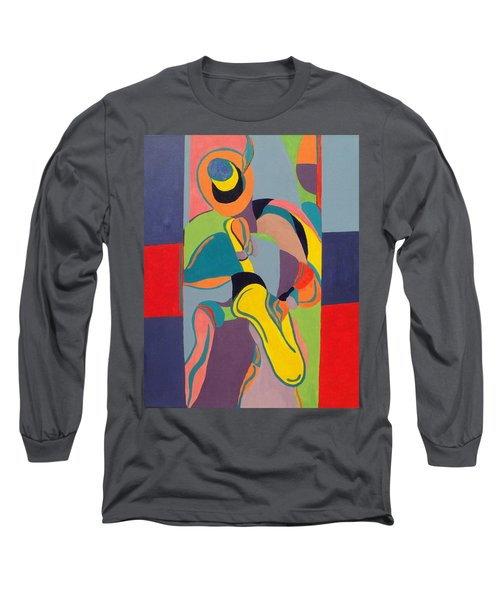 Jazzamatazz Saxophone Long Sleeve T-Shirt by Angelo Thomas