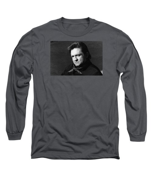 Long Sleeve T-Shirt featuring the photograph Johnny Cash Close-up The Man Comes Around Music Homage Old Tucson Az  by David Lee Guss