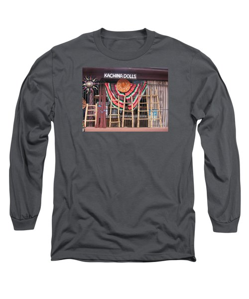 Long Sleeve T-Shirt featuring the photograph Kachina Dolls Local Store Front by Dora Sofia Caputo Photographic Art and Design