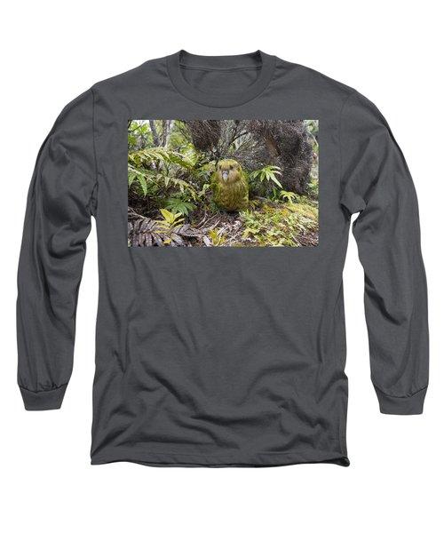Kakapo Male In Forest Codfish Island Long Sleeve T-Shirt