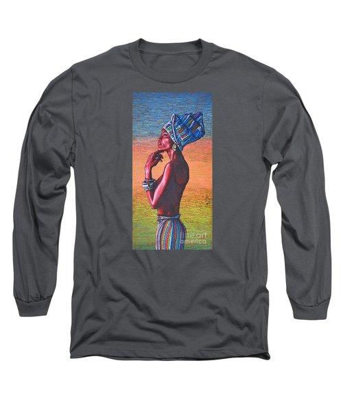 Long Sleeve T-Shirt featuring the painting Kalimba De Luna by Viktor Lazarev