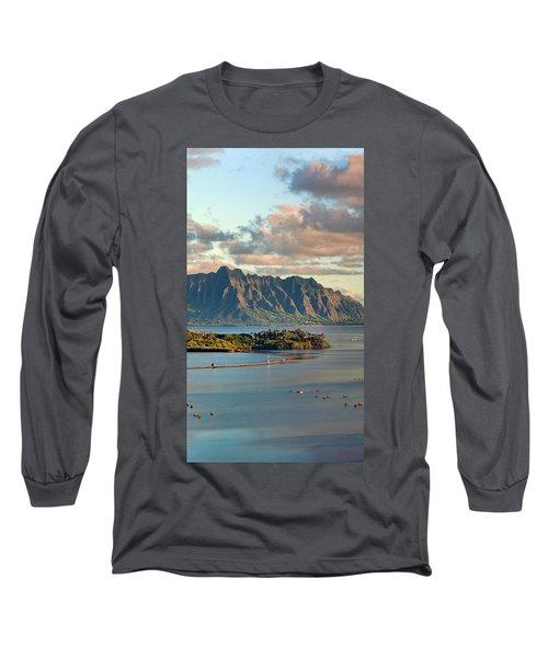Kaneohe Bay Panorama Mural 2 Of 5 Long Sleeve T-Shirt