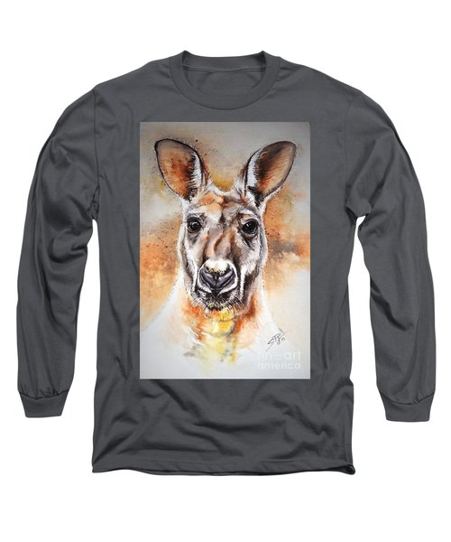 Kangaroo Big Red Long Sleeve T-Shirt