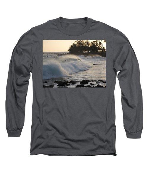 Long Sleeve T-Shirt featuring the photograph Kauai - Brenecke Beach Surf by HEVi FineArt