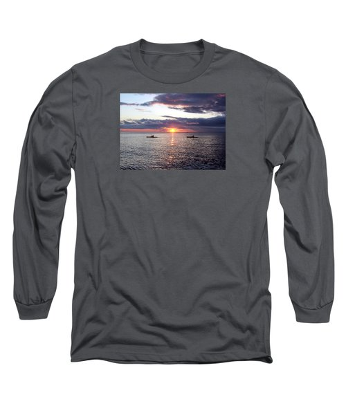 Kayaks At Sunset Long Sleeve T-Shirt by David T Wilkinson