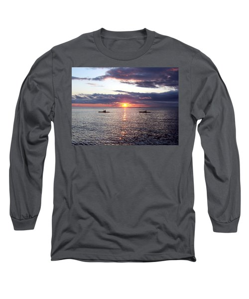 Kayaks At Sunset Long Sleeve T-Shirt