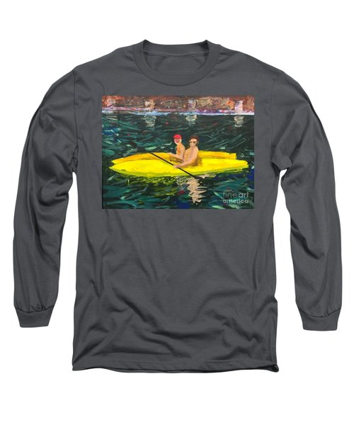 Long Sleeve T-Shirt featuring the painting Kayaks by Donald J Ryker III