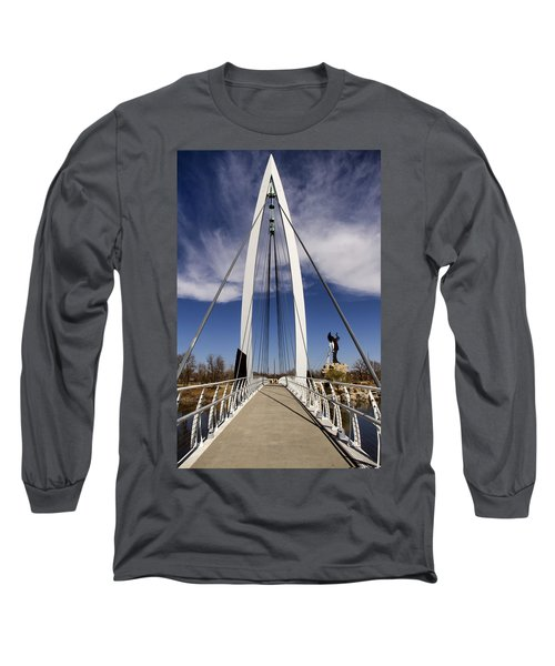 Keeper Of The Plains Bridge View Long Sleeve T-Shirt