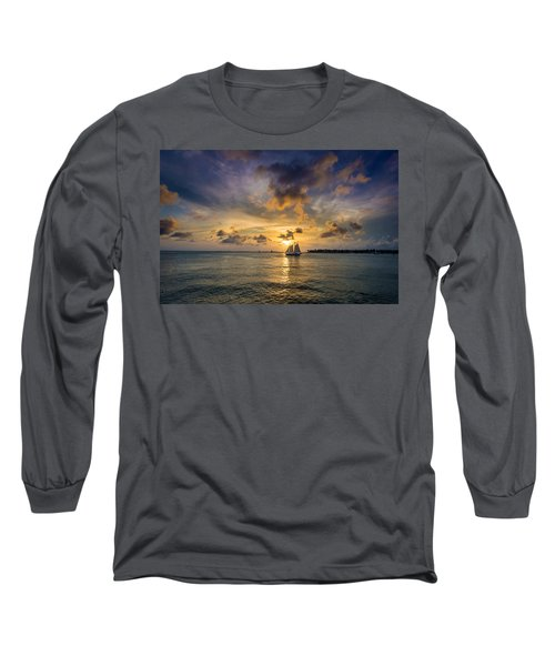 Key West Florida Sunset Mallory Square Long Sleeve T-Shirt