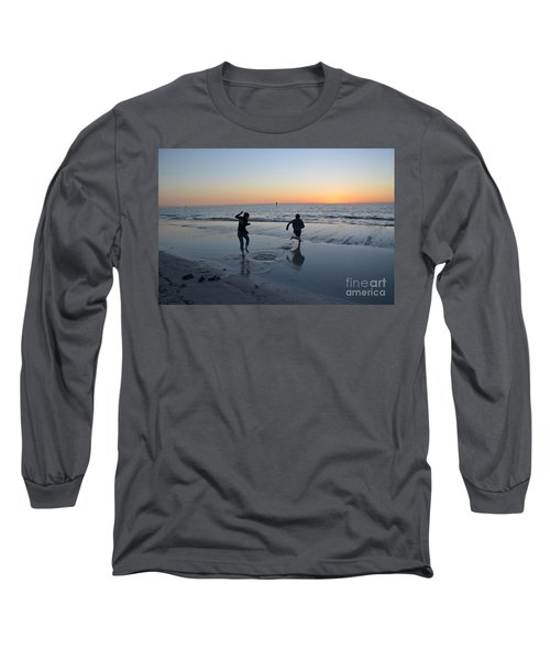 Long Sleeve T-Shirt featuring the photograph Kids At The Beach by Robert Meanor